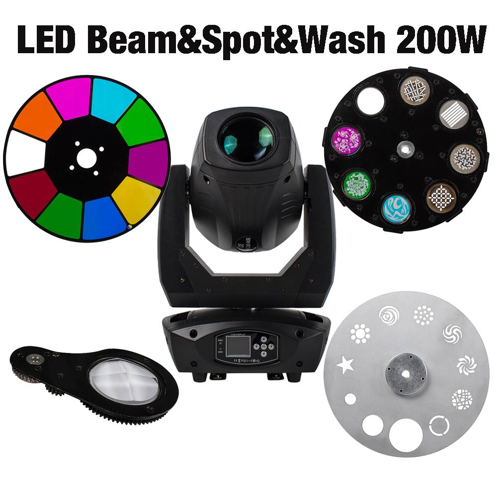Moving Head 200W LED Lyre Beam Wash Spot Light Parts LEDs Chips Prism Color Gobo Wheel For Led Spot Moving Head Lighting SHEHD