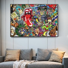 Arte de rua moderna música graffiti quadros de parede impressão em tela abstracto língua cartazes e impressões fotos de parede decoração da sua casa