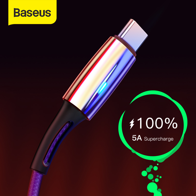 Baseus 5A USB Type C Cable for Huawei Mate 30 Pro P30 Supercharge USB C Quick Charge 3.0 Fast Charging Cable LED Type USB-C Wire 1