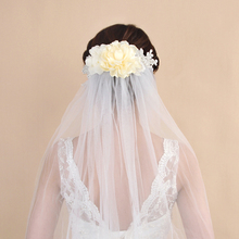 TRiXY VS172 Flowers Bridal Veil 1.1M White/Ivory Wedding Veil One-layer Wedding Veil Bridal Veil Head Veil Wedding Accessories