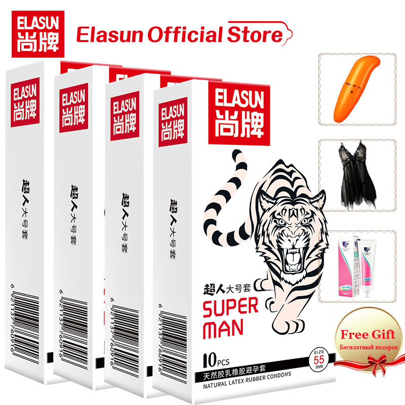 ELASUN Large Size 55mm Condom Natural Latex Big Condoms Sex Tool Safe Contraception Sex Products Condoms For Men With Free Gift