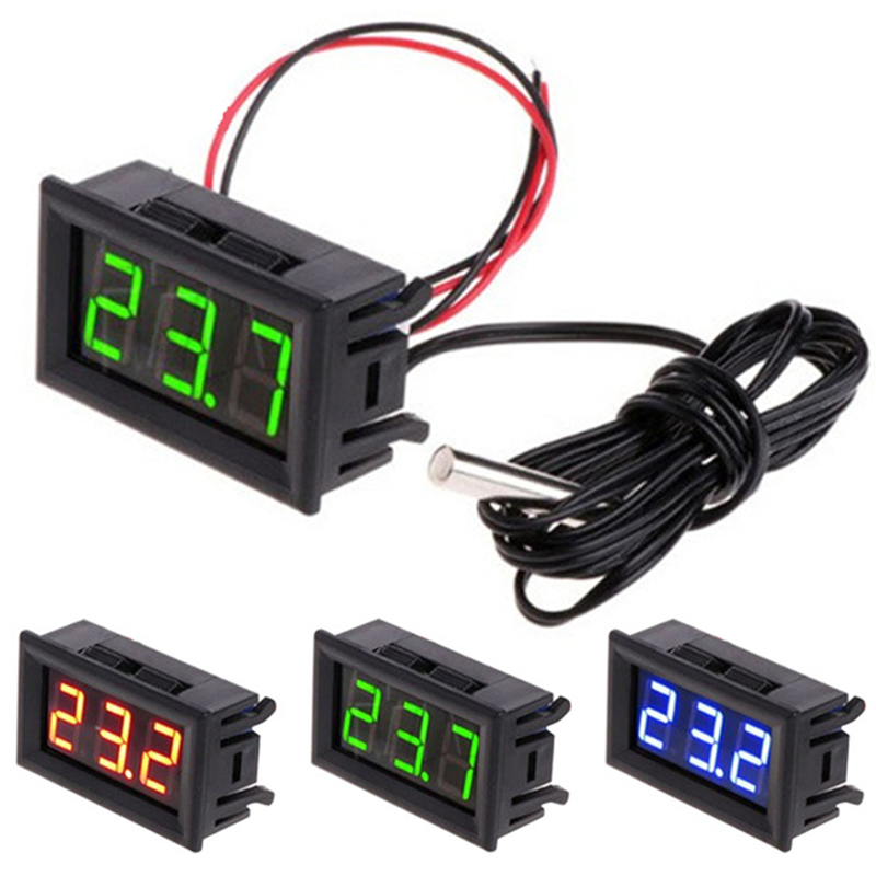 0.56 Inch 7 Segment Temperature Display Module Meter Detector With Sensor Probe DC 5-12V 0.56