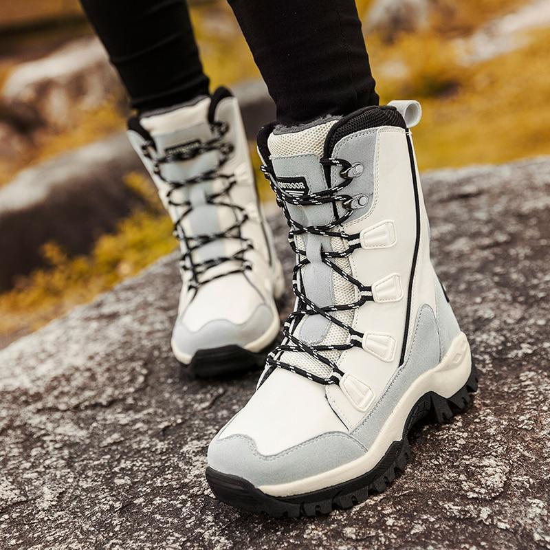 Tantu femmes randonnée bottes imperméable cheville neige bottes polaire chaud extérieur montagne bottes pour femmes mode hiver randonnée chaussures