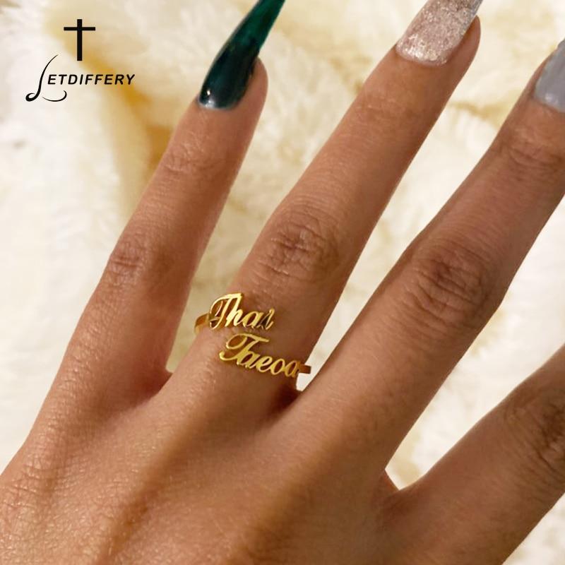 Индивидуальные двойные кольца с именем, регулируемые женские обручальные кольца из нержавеющей стали, уникальные обручальные подарки