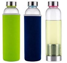 22 uncja szklana butelka wody BPA wolna szklanka odporna na wysoką temperaturę sportowa butelka na wodę z zaparzacz do herbaty butelka nylonowy rękaw tanie tanio colFnnny Ce ue Szkło Butelki wody Ekologiczne