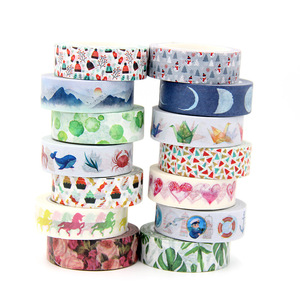 1PC 15mm*10m Kawaii Christmas moon and plant designs Tapes for Scrapbooking Stickers Adhesive Masking Tapes Stationery