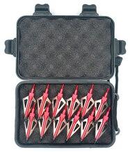12pcs נירוסטה ציד ראשי חץ ראשי חץ נקודות Broadhead 100 ראשי גרגרים + מקרה