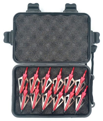 12pcs Stainless Steel Hunting Arrowheads Arrow Heads Points Broadhead 100 Grain Heads+Case