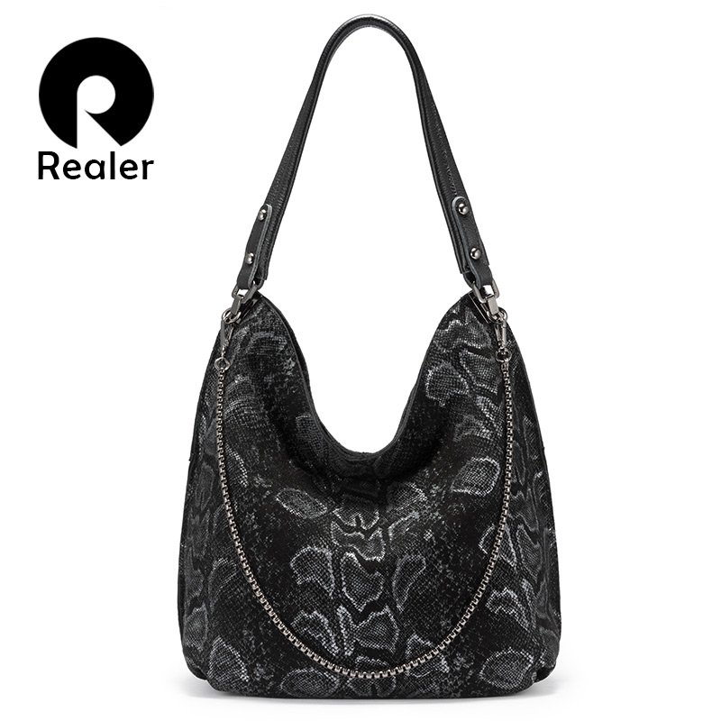 REALER Genuine Leather Women Shoulder Bag Large Capacity Hobos Bags Designer Serpentine Prints Totes Female Luxury Handbags 2019