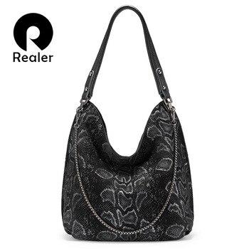 REALER genuine leather women shoulder bag large capacity hobos bags designer serpentine prints totes female luxury handbags 2019