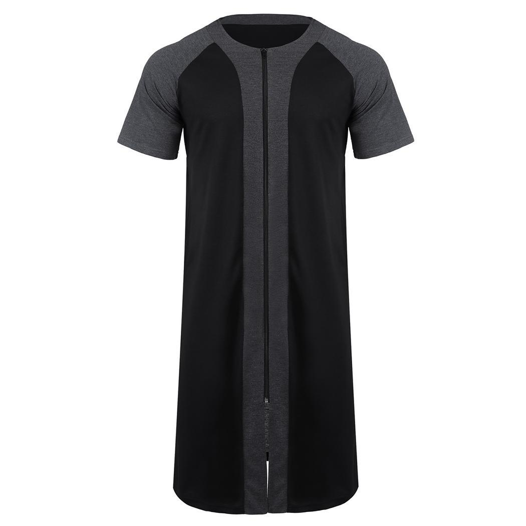 Men Casual Patchwork O Neck Short Sleeve Zipper Robe None Nightgown Sleepwear Summer Nightwear, Knee Length