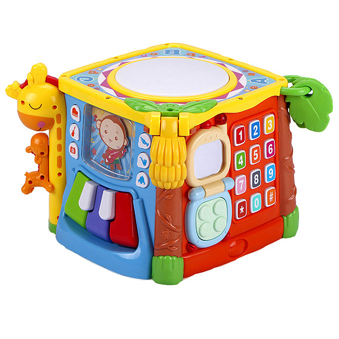 C [GOODWAY Hand Drum 0-3 Years Old Baby Music Drum Six-sided Box Baby Toys 3839