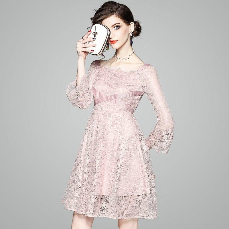 Robe en dentelle femmes printemps été nouvelles dames Slash cou Flare manches Slim a-ligne robe de soirée Coloar longueur au genou S-XL