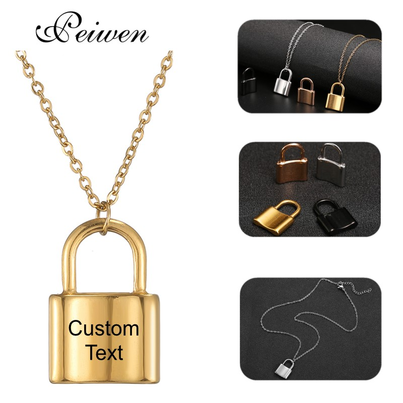 Custom Name Square Lock Necklaces For Women Friendship Couple Gifts Stainless Steel Gold Silver Color Choker Men Neck Pendants