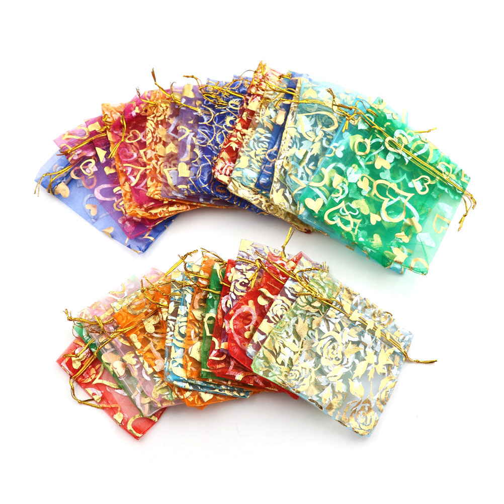 20pcs/lot Drawstring Bags Organza Bags Drawable Bags Gift Pouches 7x9cm 3X4 Inch Mix Color Jewelry Packaging