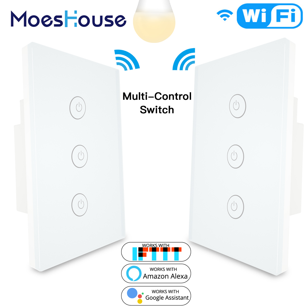 3 Way 3 Gang WiFi Smart Multi-Control Light Switch Work With Alexa Google Home,No Hub Required Smart Life APP Remote Control
