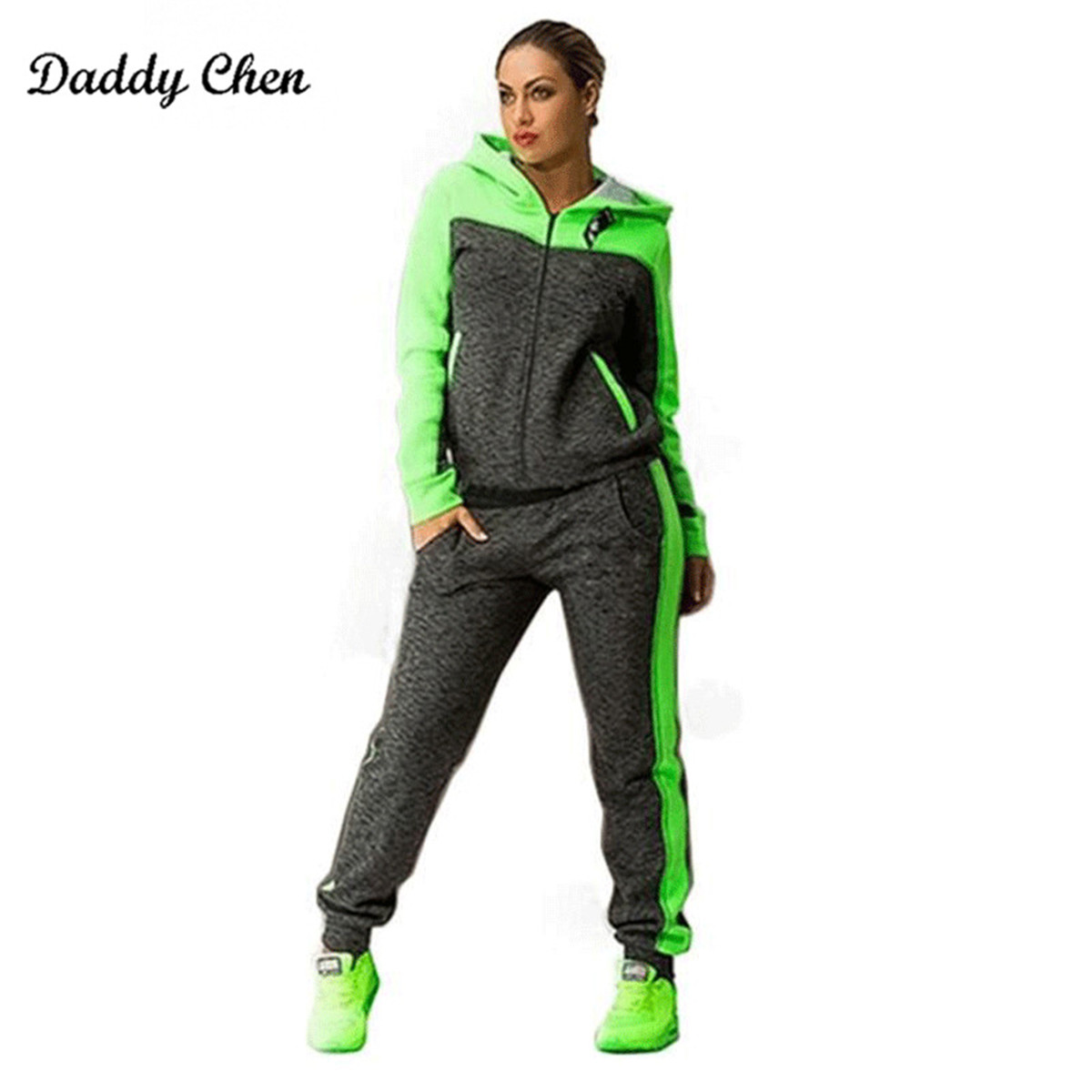High Quality Tracksuits Hooded Sweater Suit Set Green Slim Casual Women Clothes Sportswear Fitness Workout Set Women Clothes 4XL