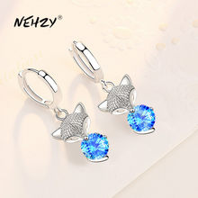 NEHZY925 – boucles d'oreilles en forme de renard pour femmes, bijoux en argent sterling 2021, haute qualité, cristal bleu rose, zircon, nouvelle collection
