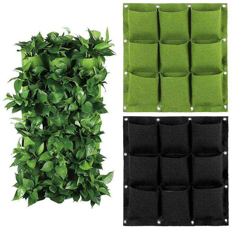 Parede vertical jardim plantador não-tecido tecidos de parede pendurado sacos de plantio bolsos pendurado sacos de parede verde planta crescer vertical