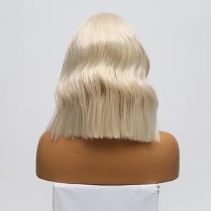 Image 4 - כריזמה קצר פאה עמיד בחום גלי שיער פאות סינטטי תחרה מול פאת צד חלק Glueless פאות עבור נשים משלוח חינם