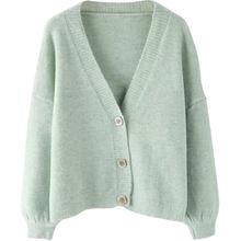 Осень зима 2021 женский свитер кардиганы оверсайз с v образным