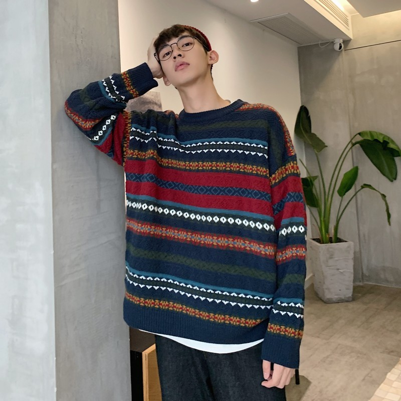 Men's Sweater 2019 Autumn And Winter New Striped Print Sweater Round Neck Color Couple Sweaters Youth Trend Men's Clothing