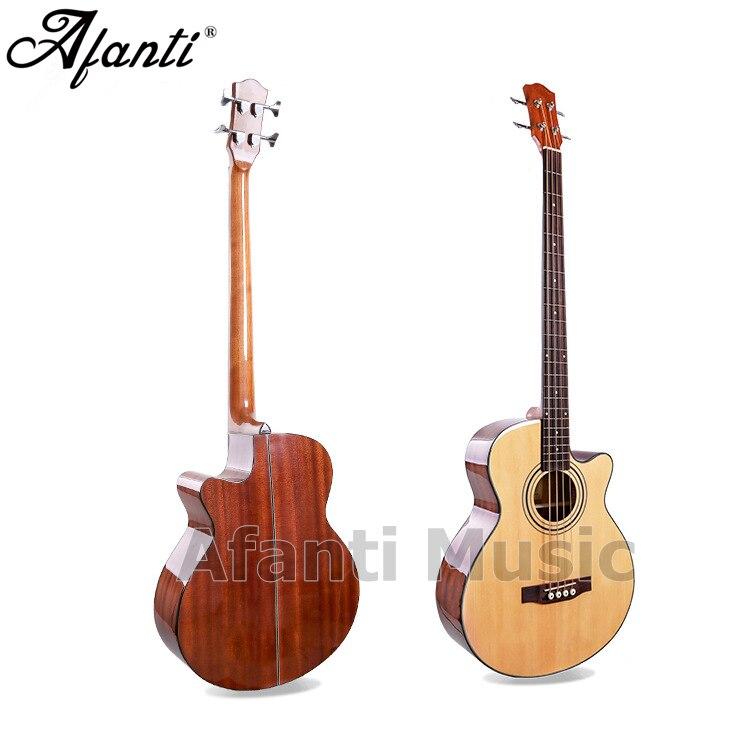 Afanti musique 4 cordes basse bois guitare épicéa haut/Sapele arrière & côtés basse guitare acoustique (WY-058)