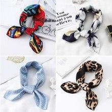 2020 маленькие шелковые волосы шарф женщин платок шеи обернуть 50см квадратных платок бандана мягкий леопардовый дамы шарфы повязка на голову галстук
