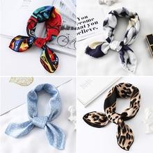 2020 Small Silk Hair Scarf Women Foulard Neck Wrap 50cm Square Kerchief Soft Bandana Leopard Print Lady Head Band Scarves Tie