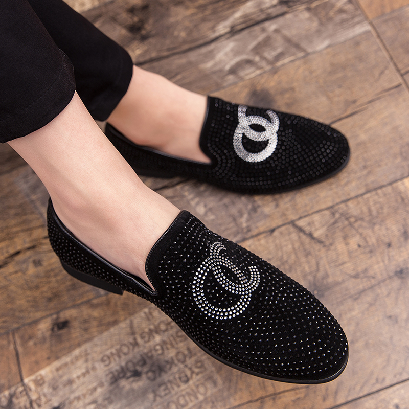 Brand New Men Fashion Loafer Shoes Party Dress Casual Rhinestone Pointed Toe Flat Breathable Party Dress Shoes