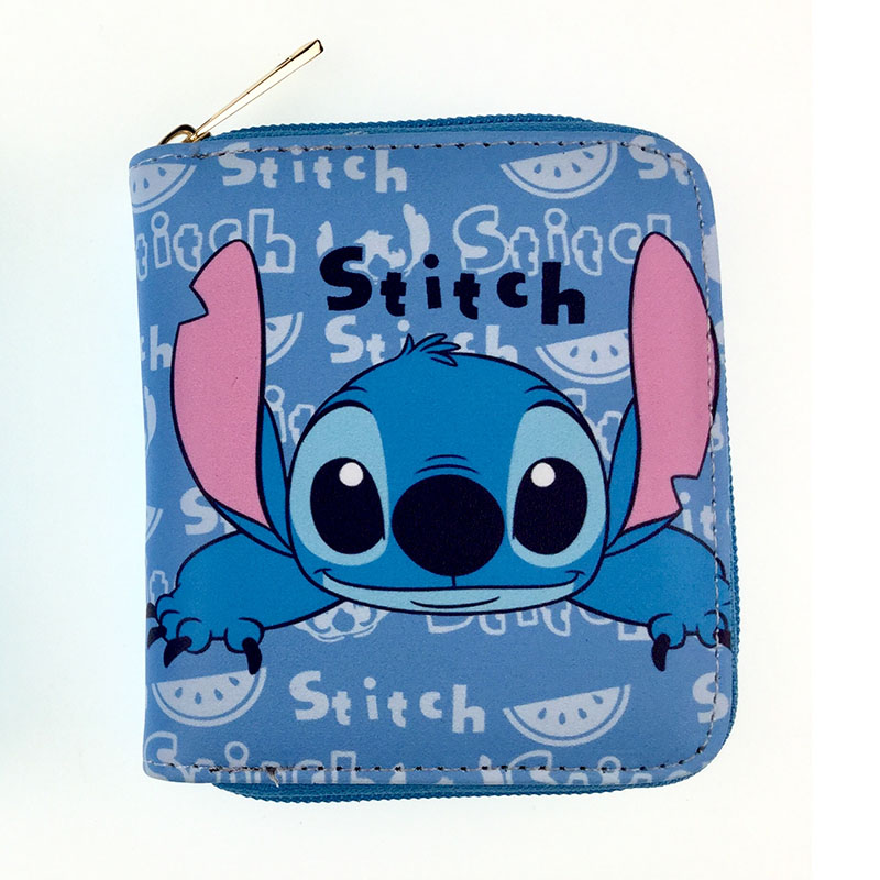 Kawaii Cartoon Stitch Lilo Mini Wallets Zipper Poucht Coin Pocket Leather Purse For Kids Boy Girl Fashion Gifts Coin Key Wallets