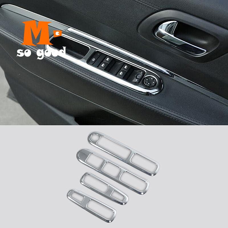 2009 10 11 12 13 14 2015 For Peugeot 3008 ABS Chrome Car door handle Armrest window lift switch button cover trim accessories image