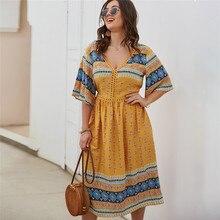 Dress Plus-Size Robe V-Neck Floral-Printed Midi Casual Beach Women's Summer Bohemian