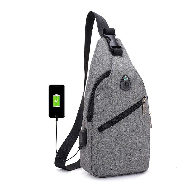 Outdoor Men's Chest Backpack Usb Charging Shoulder Bag Men Women Leisure Riding Shoulder Bag  Unisex Climbing Shoulder Bag