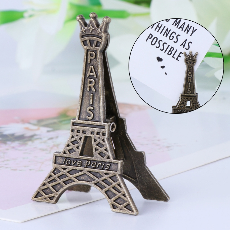 Vintage Eiffel Tower Paris Metal Memo Paper Clip For Office Business Card Stand Photo Card Holder Message Decoration C26