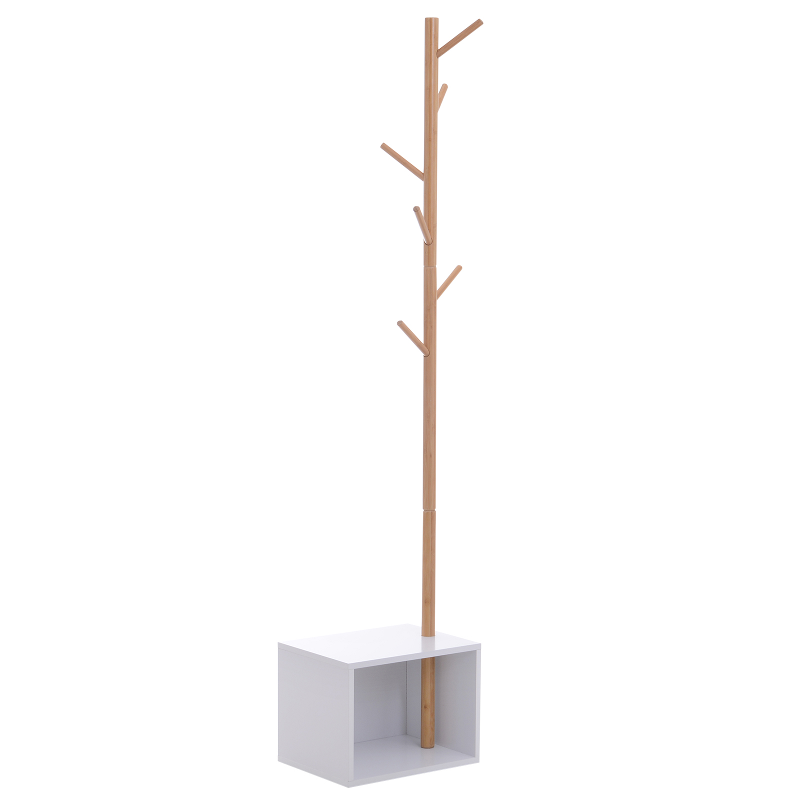 HOMCOM Hanger With Bench Cube For Shoes 6 Hooks Input And Bedroom Bamboo Wood MDF 40x30x180cm