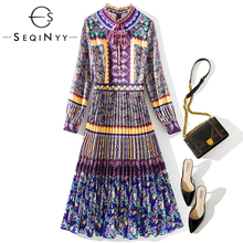 SEQINYY Vintage Dress 2020 Spring Autumn New Fashion Design Long Sleeve Flowers Printed Purple Pleated