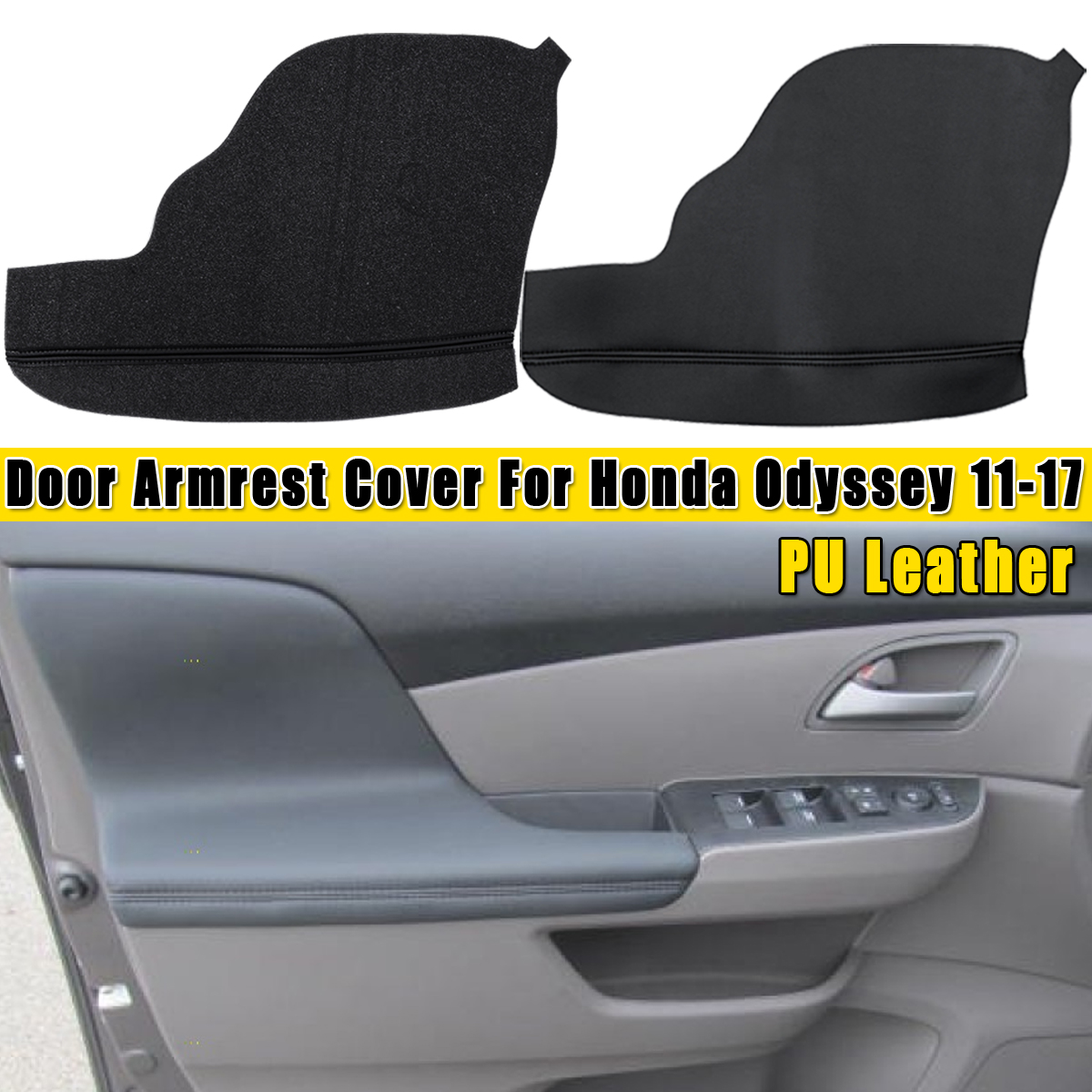 2pcs/set Door Armrest Upholstery Covers Leather For Honda For ODYSSEY 2011 2012 2013 2014 2015 2016 2017 Gray/Black/Beige