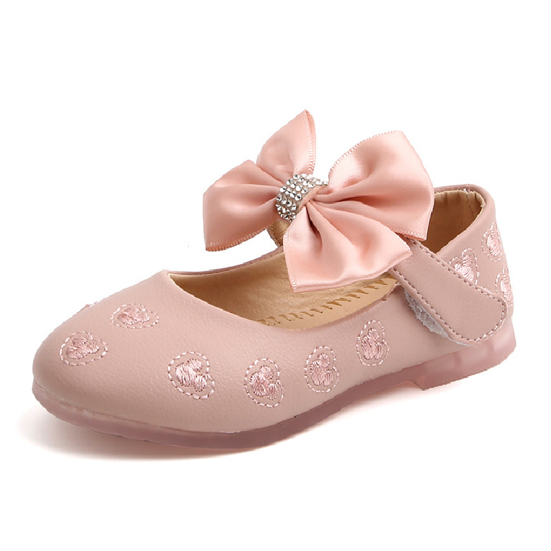 Embroidery Mickey Summer Girls Shoes Mary Janes Flats Big Bow Princess Shoes Baby Dance Shoes Kids Sandals Children Wedding Shoe