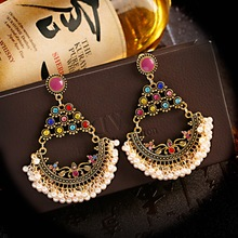 Colorful Earrings For Women Pendant Jewelry Indian Jhumka Aesthetic Earring Dangle Pearl Beads Ear Rings For Girl New Year Gifts