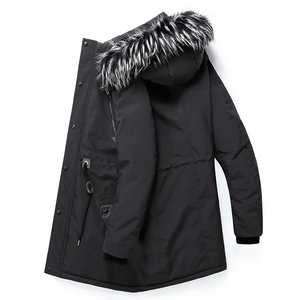 Image 5 - Men Parkas Jackets Winter Warm New Male Hooded Overcoats Outwear Fur Collar Thick Mens Casual Long Jacket Velvet High Quality