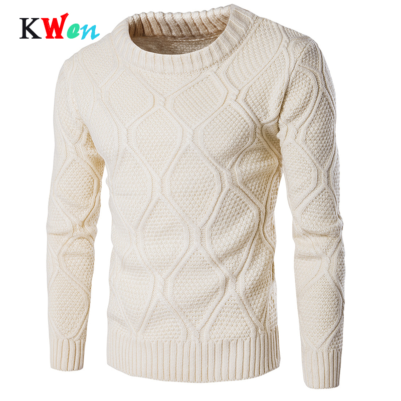 2019 Men O Neck Long Sleeve Slim Warm Sweater Men Woolen Knitwear  Sweaters Grometric Pull Homme Beige Pulllvers Knitwear