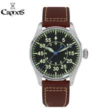 Cronos Mechanical Pilot Flieger Men Watch Stainless steel Skeleton Back Waterproof Blue Hands Super Luminous Leather
