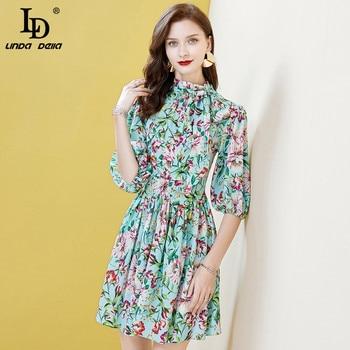 цена на LD LINDA DELLA Elegant Ruffles Party Dress Lantern Sleeve Multicolor Floral Print Women Summer Vintage Ladies Chic Mini Dresses