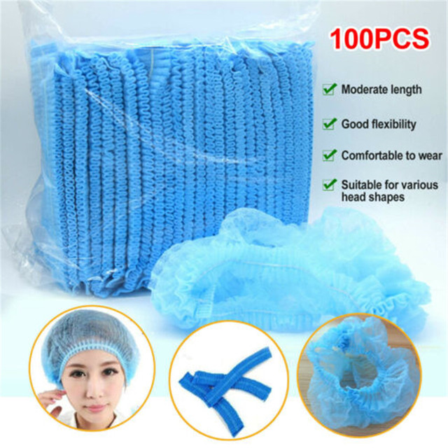 100 Pcs Disposable Non-woven Hair Caps Sterile Security Protection Hat Workplace Safety Supplies Stretchable Stretch Hair Caps