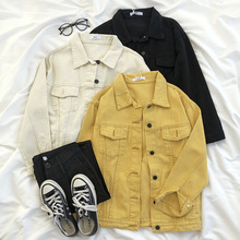 Vintage Yellow Denim Jacket Pocket Slim Black Beige Spring Jean Jacket