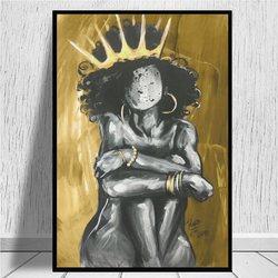 Naturalnie królowa IX złoto wydruki na płótnie moda styl obraz na płótnie plakat z nadrukiem ściana z obrazami salon wystrój domu