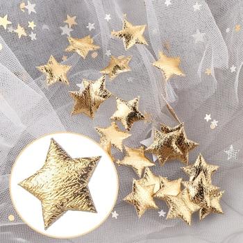 100 sztuk złota/srebra pianki tkaniny gwiazdy ozdoby ozdoby biżuteria materiał strona dekoracji Scrapbooking DIY dodatki przybory