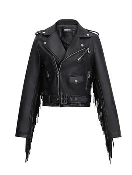Hong Ru 2020 Autumn New Leather Fringed Jacket Women's Tassel Leather Coat Short Slim Fit Waist Motorcycle Jacket Fashion 1