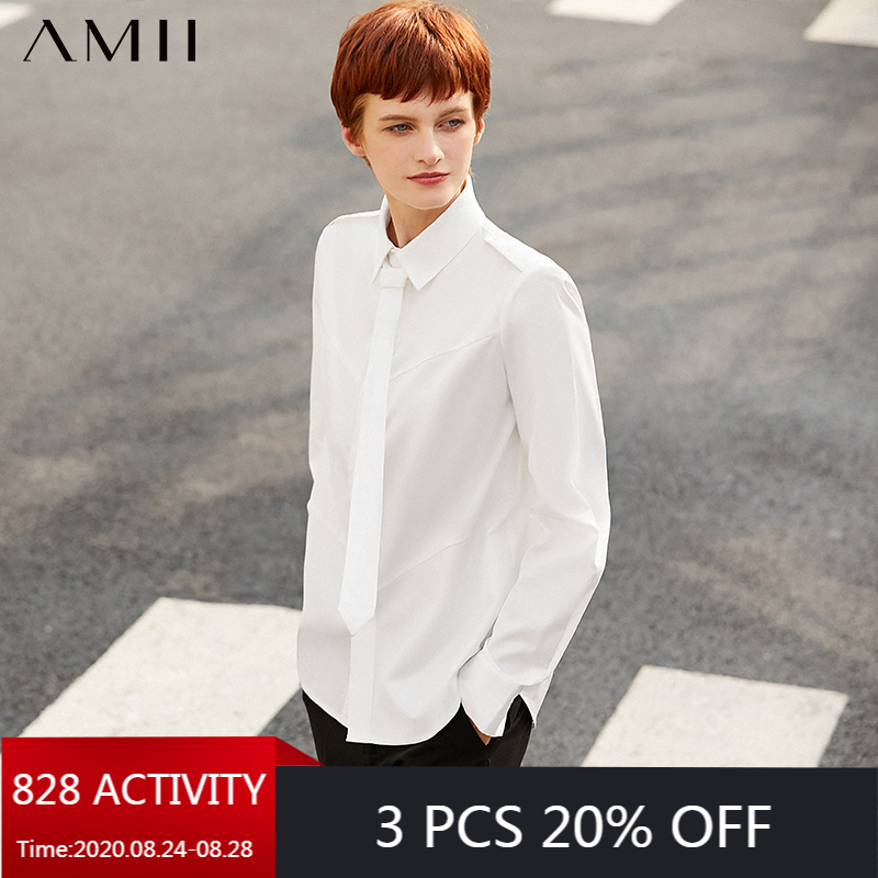 AMII Minimalism Autumn Fashion Women Shirt Olstyle Solid Stand Collar Tie Loose Women Blouse Causal Female Shirt Tops 12030266